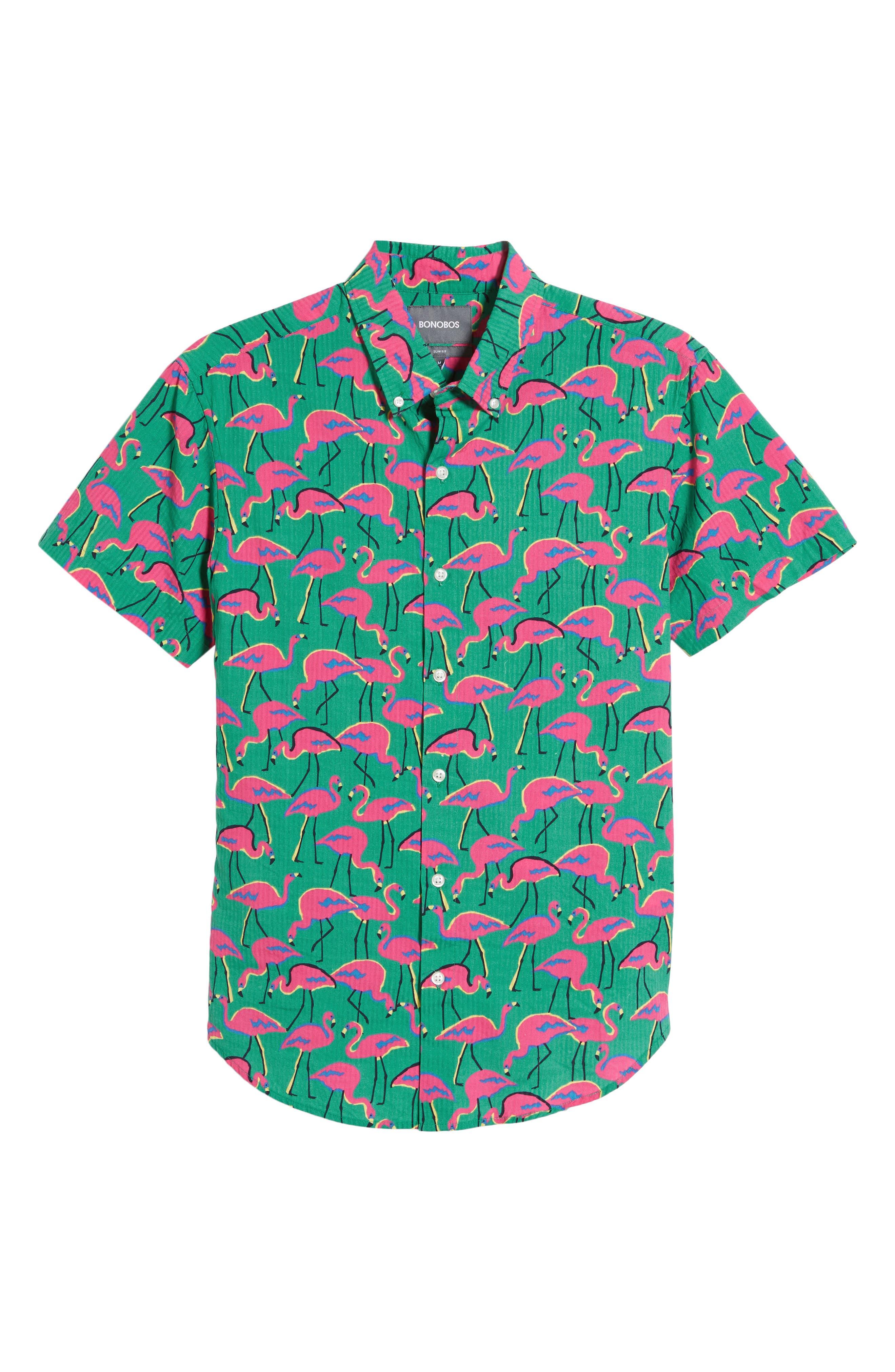 ,                             Riviera Slim Fit Flamingo Print Sport Shirt,                             Alternate thumbnail 5, color,                             LOOK FLAMINGOS