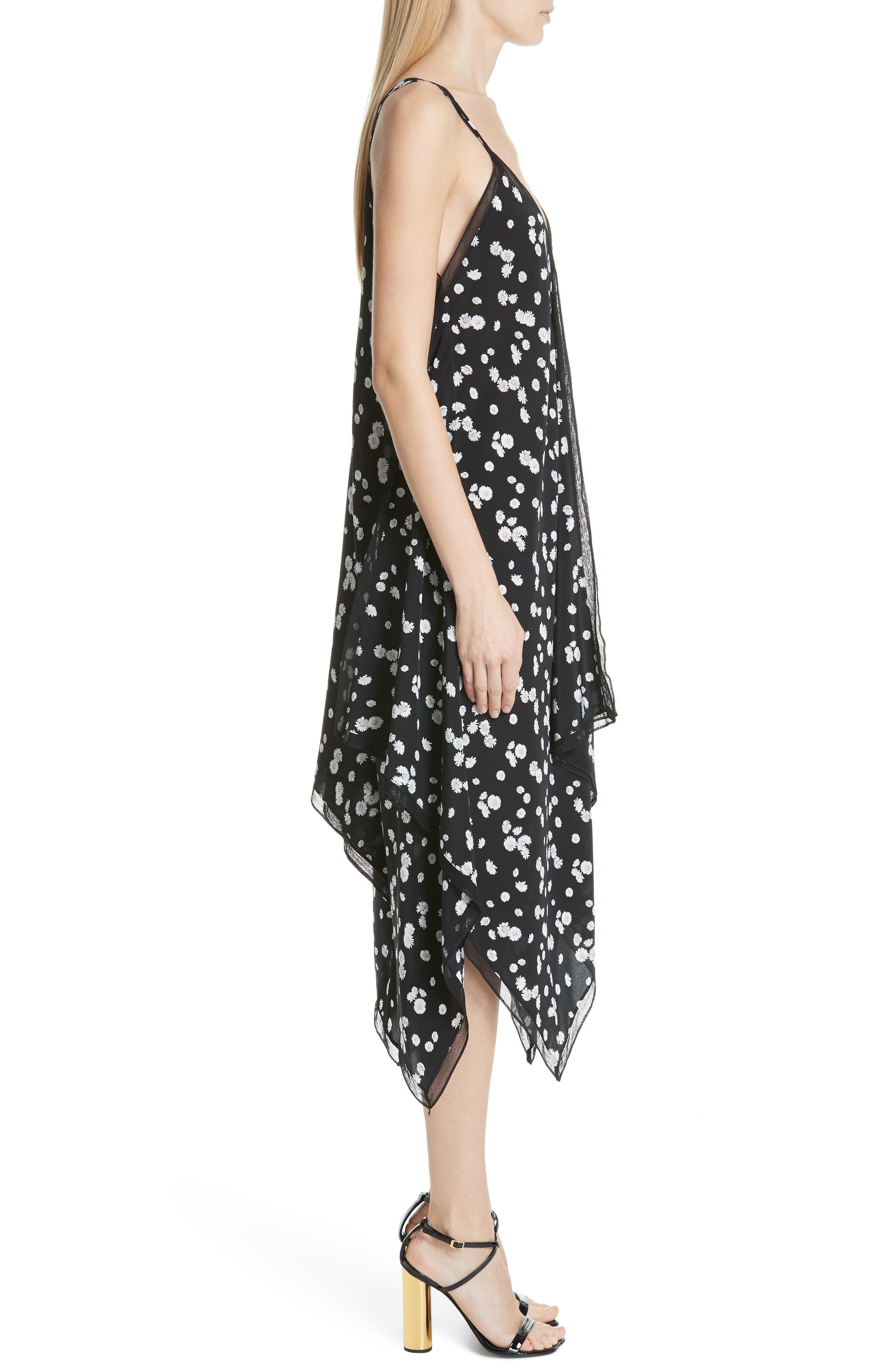 ,                             Spring Daisy Handkerchief Hem Dress,                             Alternate thumbnail 4, color,                             BLACK MULTI