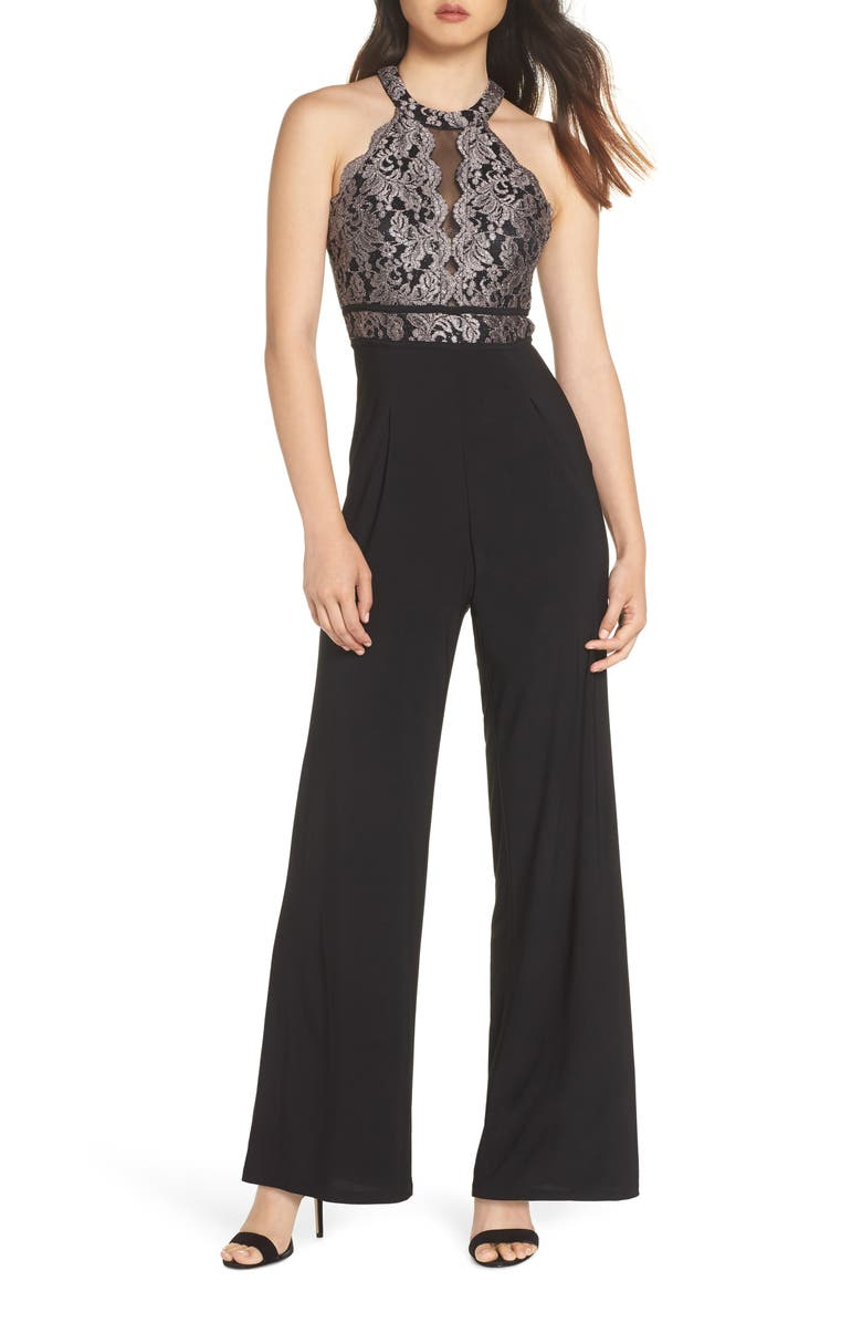 MORGAN & CO. Embroidered Lace Jumpsuit, Main, color, BLACK/ TAUPE