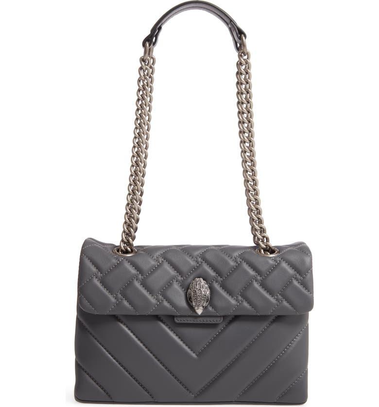 KURT GEIGER LONDON Kensington X Quilted Leather Shoulder Bag, Main, color, GREY