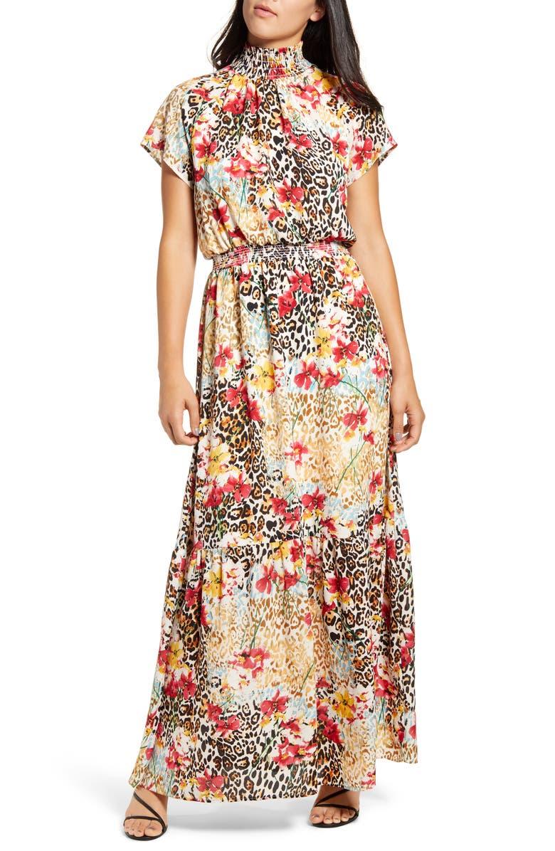 GIBSON x City Safari Jaime Shrayber Smocked Maxi Dress, Main, color, WILD FLOWER