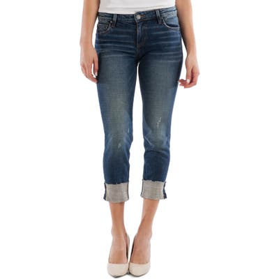 Kut From The Kloth Amy Distressed Raw Hem Crop Straight Leg Jeans, Blue