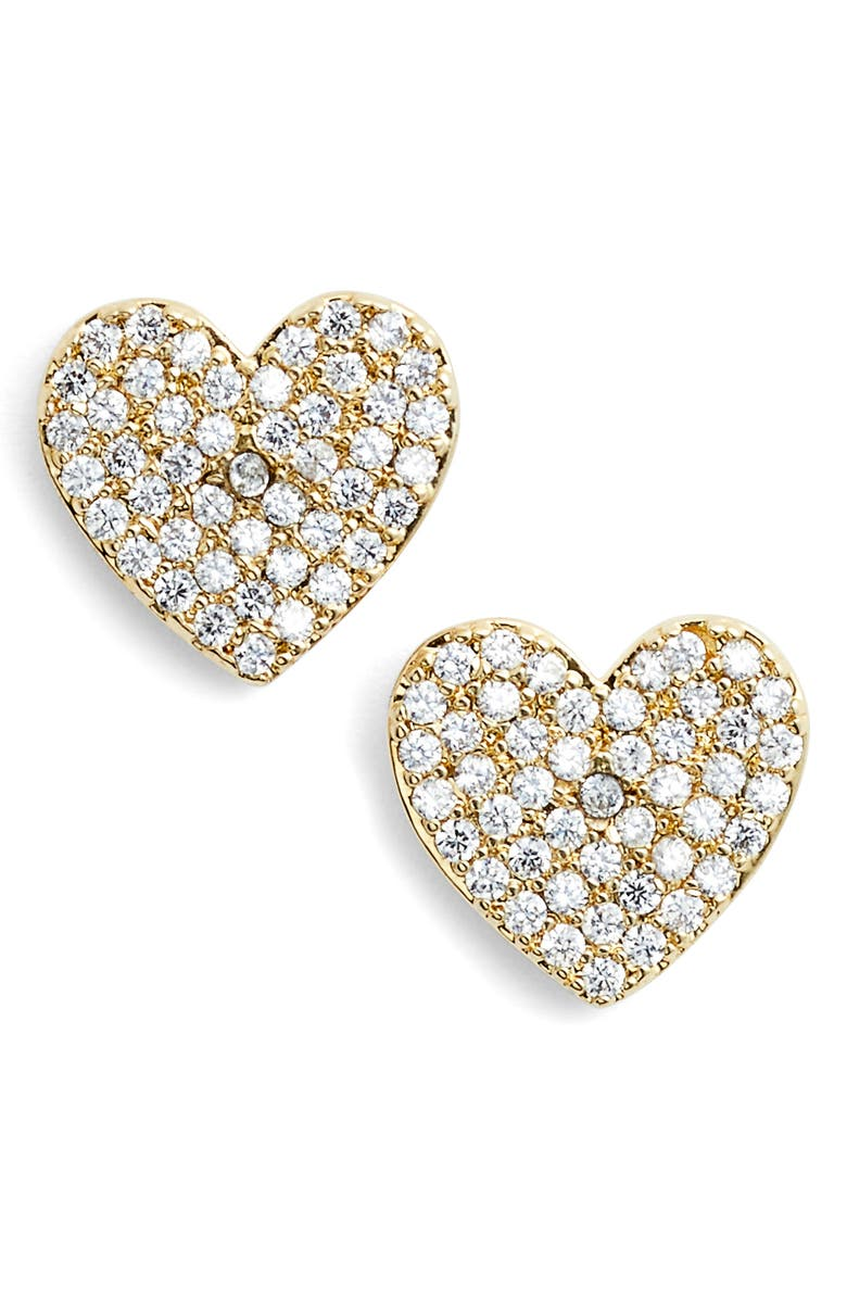 KATE SPADE NEW YORK yours truly pave heart stud earrings, Main, color, GOLD
