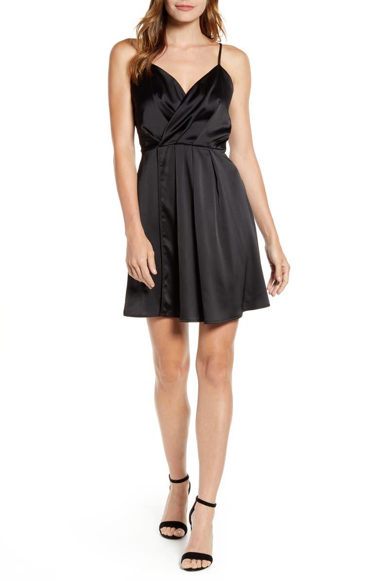 GIBSON x Hot Summer Nights Natalie Satin Faux Wrap Minidress, Main, color, BLACK