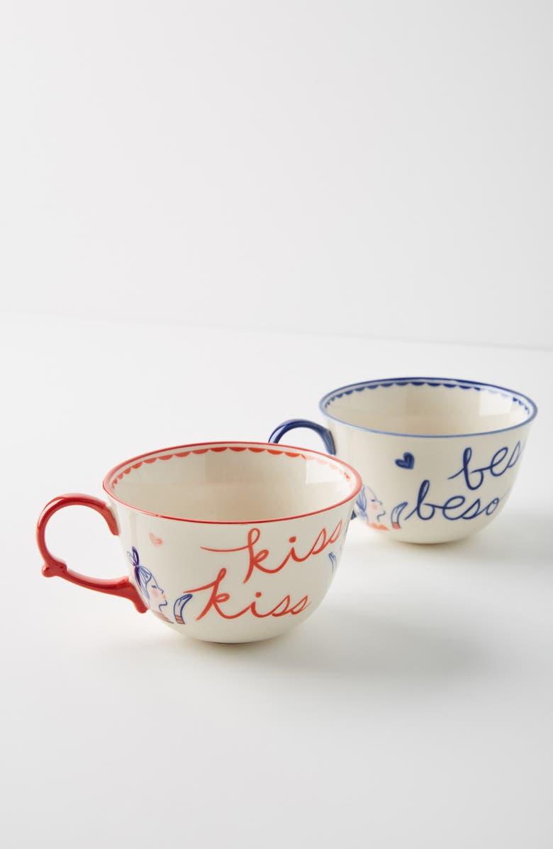 ANTHROPOLOGIE Libby VanderPloeg Set of 2 Mugs, Main, color, BLUE COMBO