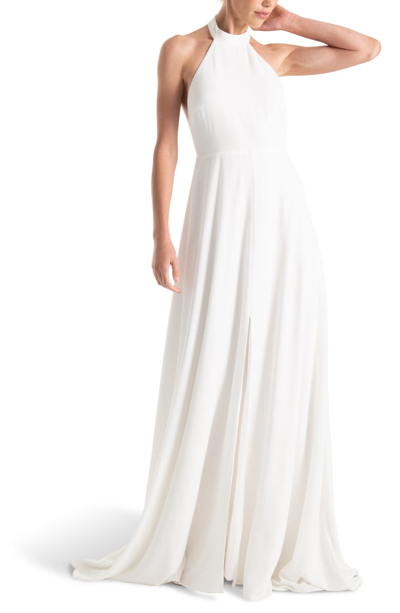 JOANNA AUGUST Courtney Halter Wedding Dress, Main, color, WHITE