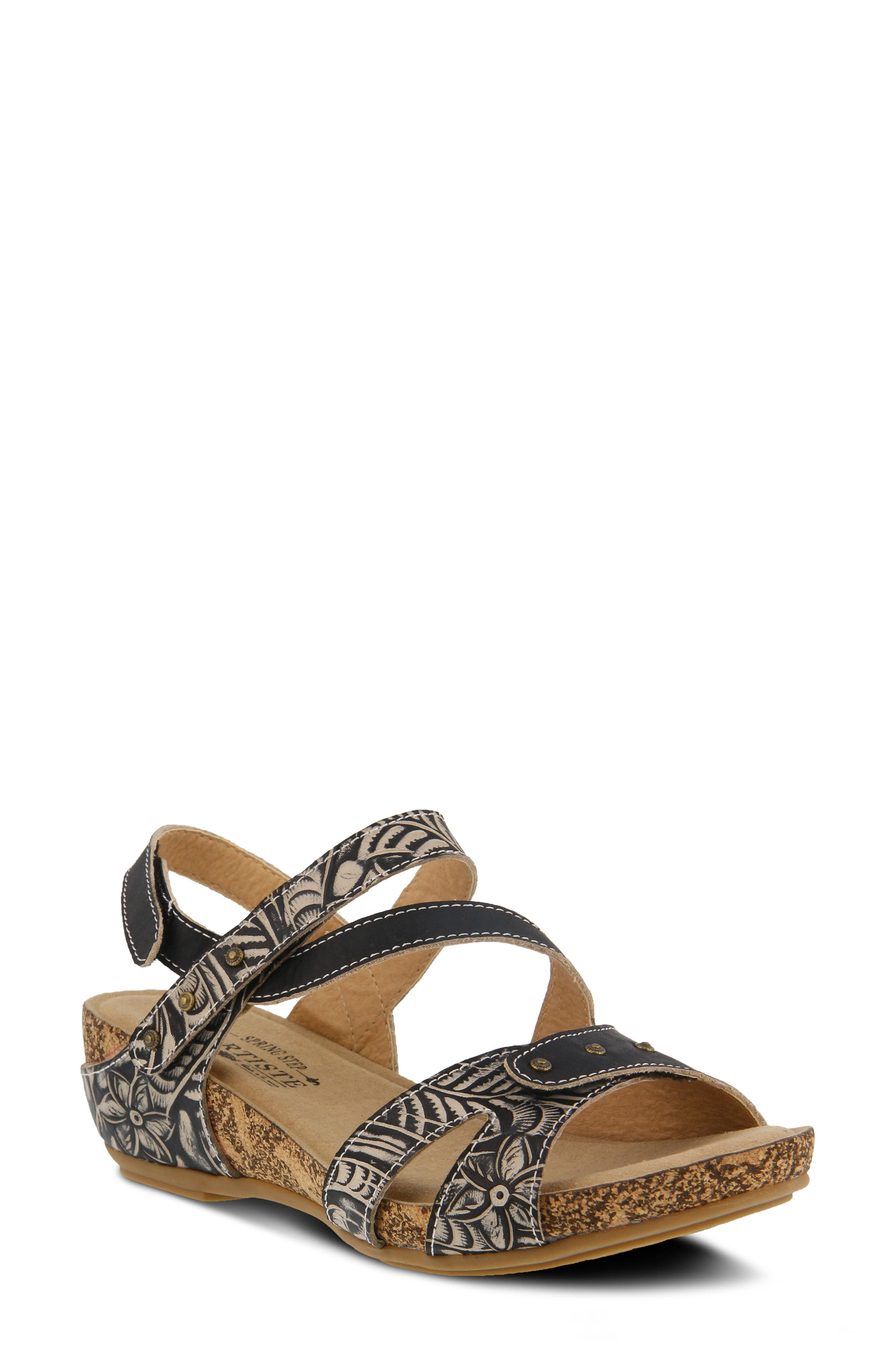 A French-inspired floral brings beautiful pattern and texture to the embossed, adjustable straps wrapping a low wedge sandal fitted with a cushioned footbed. Style Name:L\\\'Artiste Quilana Wedge Sandal (Women). Style Number: 5770846. Available in stores.