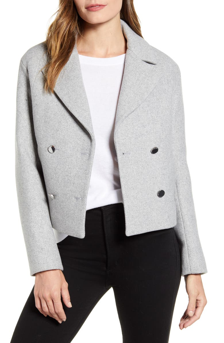TED BAKER LONDON Agneta Double Breasted Crop Jacket, Main, color, LT GREY