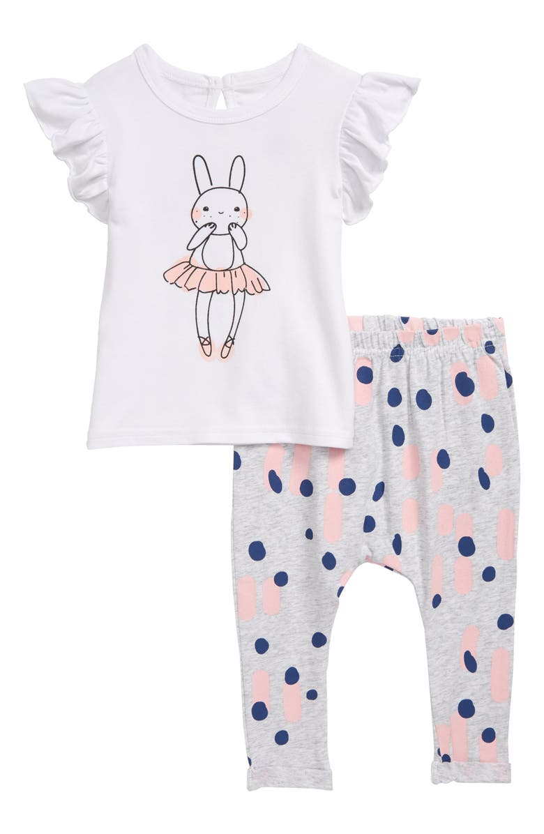 SOOKIBABY Bunny Frill Top & Leggings Set, Main, color, WHITE / PINK