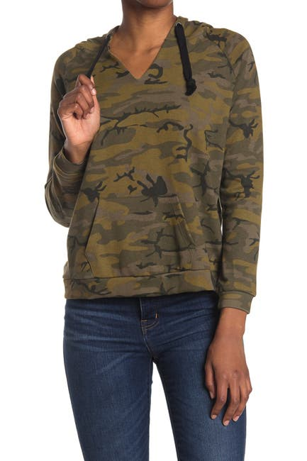 Image of FOR THE REPUBLIC Camo Print Hooded Raglan Sleeve Top