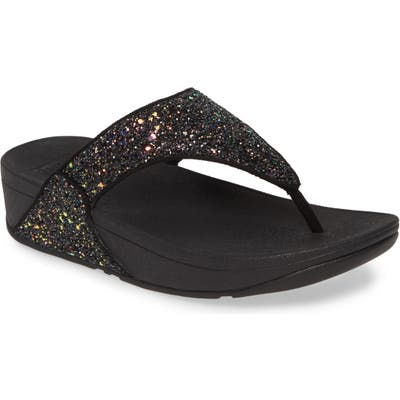 Fitflop Lulu Glitter Flip Flop, Black