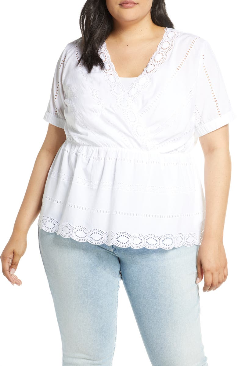 CASLON<SUP>®</SUP> Cotton Eyelet Blouse, Main, color, WHITE