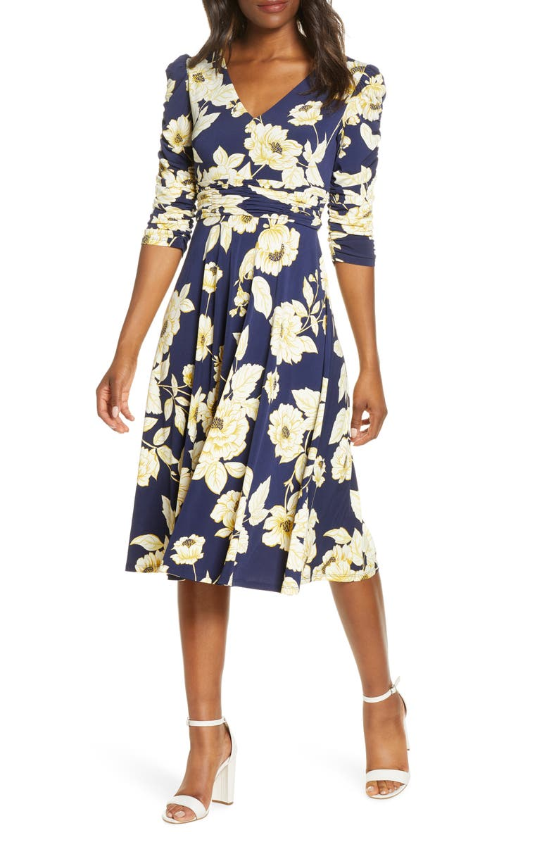 ELIZA J Floral Print Ruched Dress, Main, color, 410