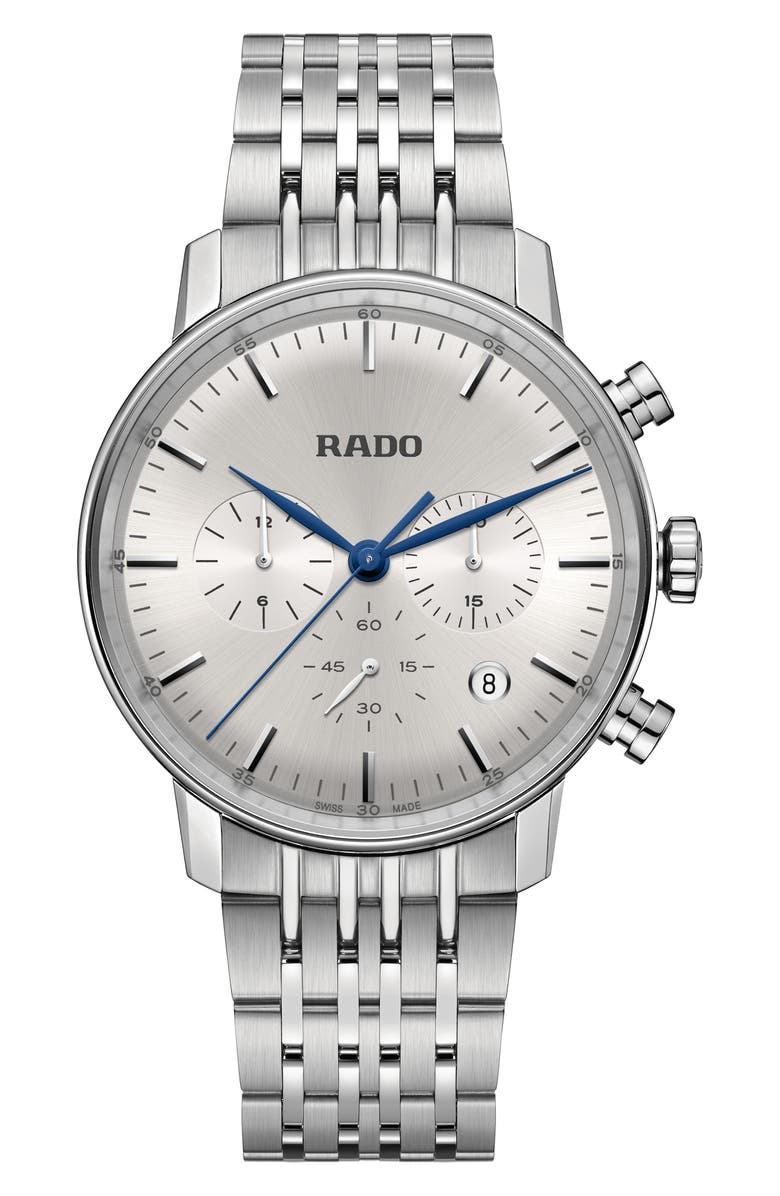 RADO Coupole Classic Chronograph Bracelet Watch, 42mm, Main, color, SILVER/ LIGHT/ STAINLESS STEEL