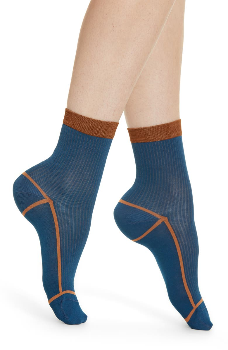 HYSTERIA BY HAPPY SOCKS Lily Rib Ankle Socks, Main, color, MEDIUM BLUE