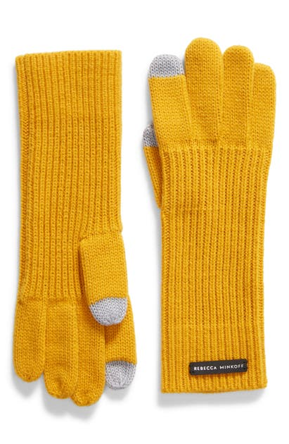 Rebecca Minkoff Milano Knit Gloves In Tumeric