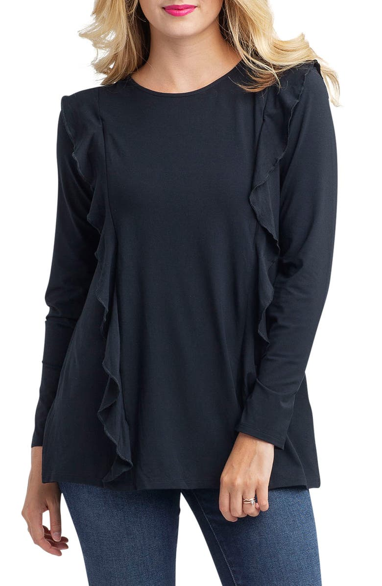NOM MATERNITY Fiona Ruffle Trim Maternity/Nursing Top, Main, color, BLACK