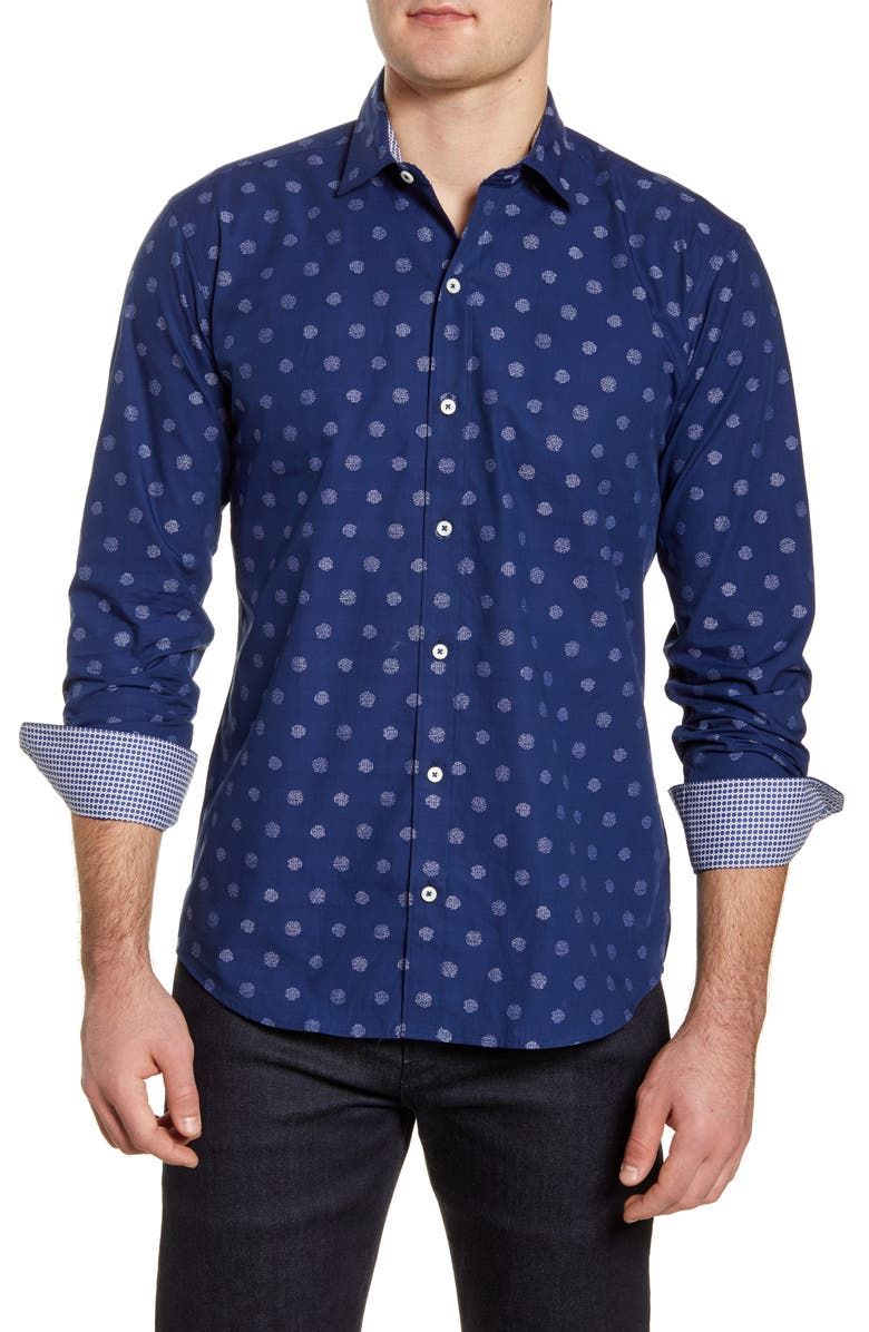 BUGATCHI Shaped Fit Button-Up Shirt, Main, color, NAVY