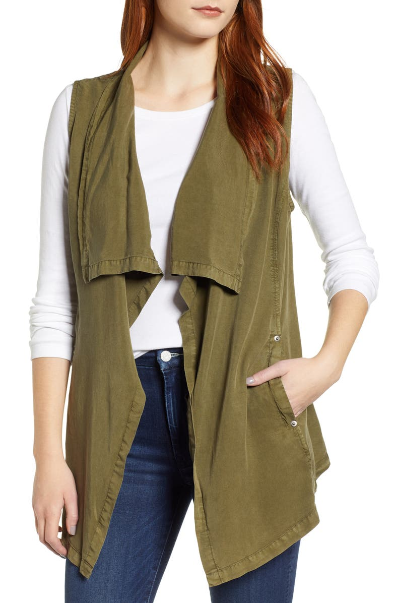 TDC Drape Front Vest, Main, color, OLIVE BRANCH