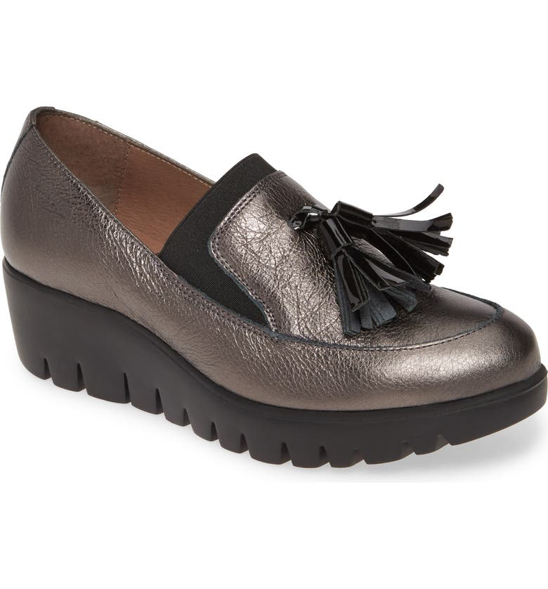 WONDERS Talla Loafer Wedge, Main, color, LEAD METALLIC LEATHER