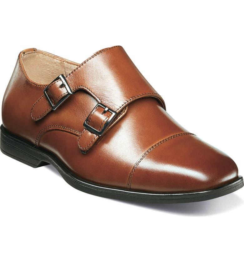 FLORSHEIM Reveal Double Monk Strap Shoe, Main, color, COGNAC LEATHER