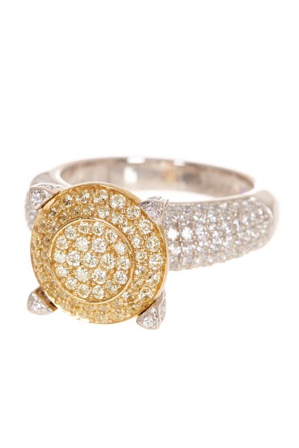 Image of Suzy Levian Sterling Silver & 14K Gold Plated Pave CZ Ring