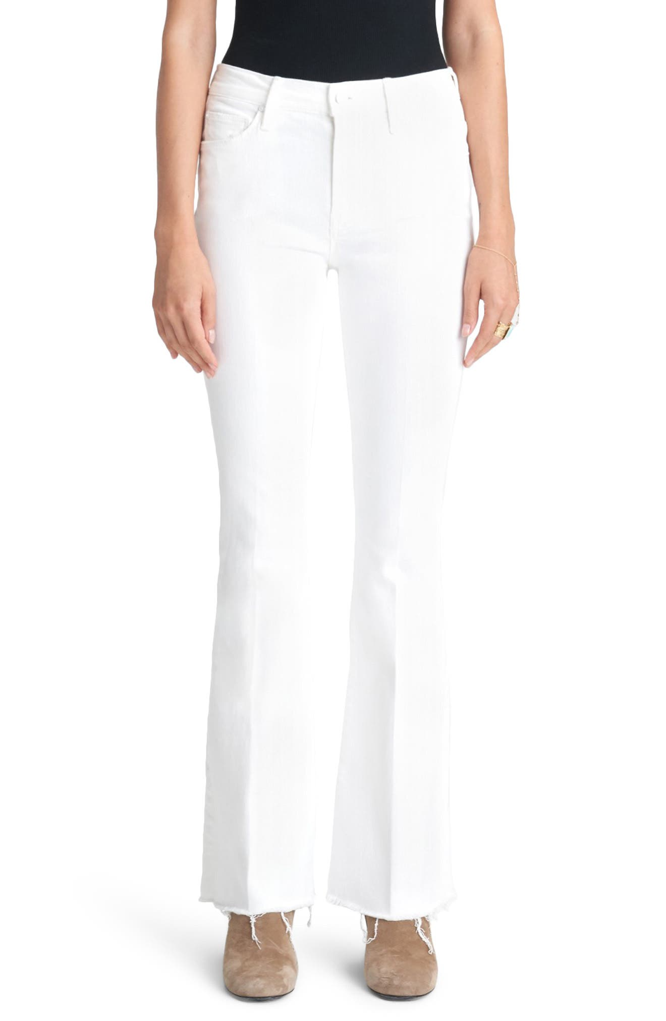 Women's Mother High Waist Fray Hem Flare Jeans