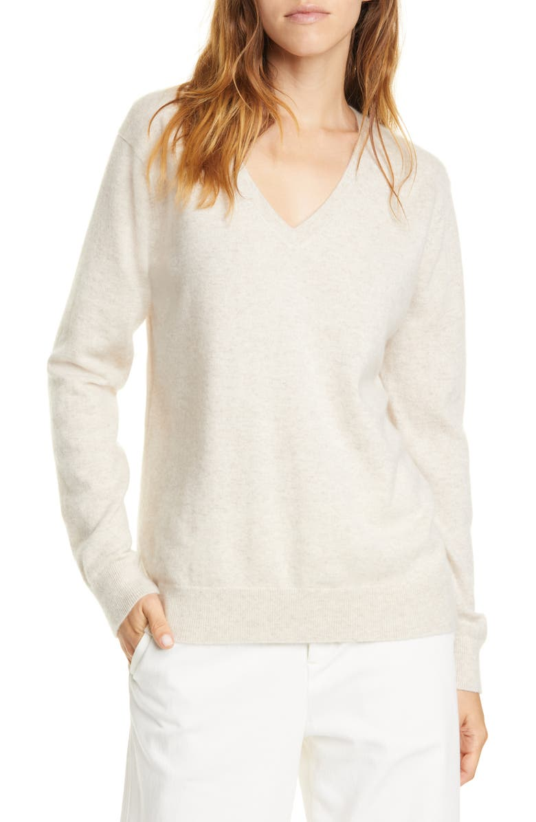 VINCE Weekend V-Neck Cashmere Sweater, Main, color, HEATHER DOVE OAT