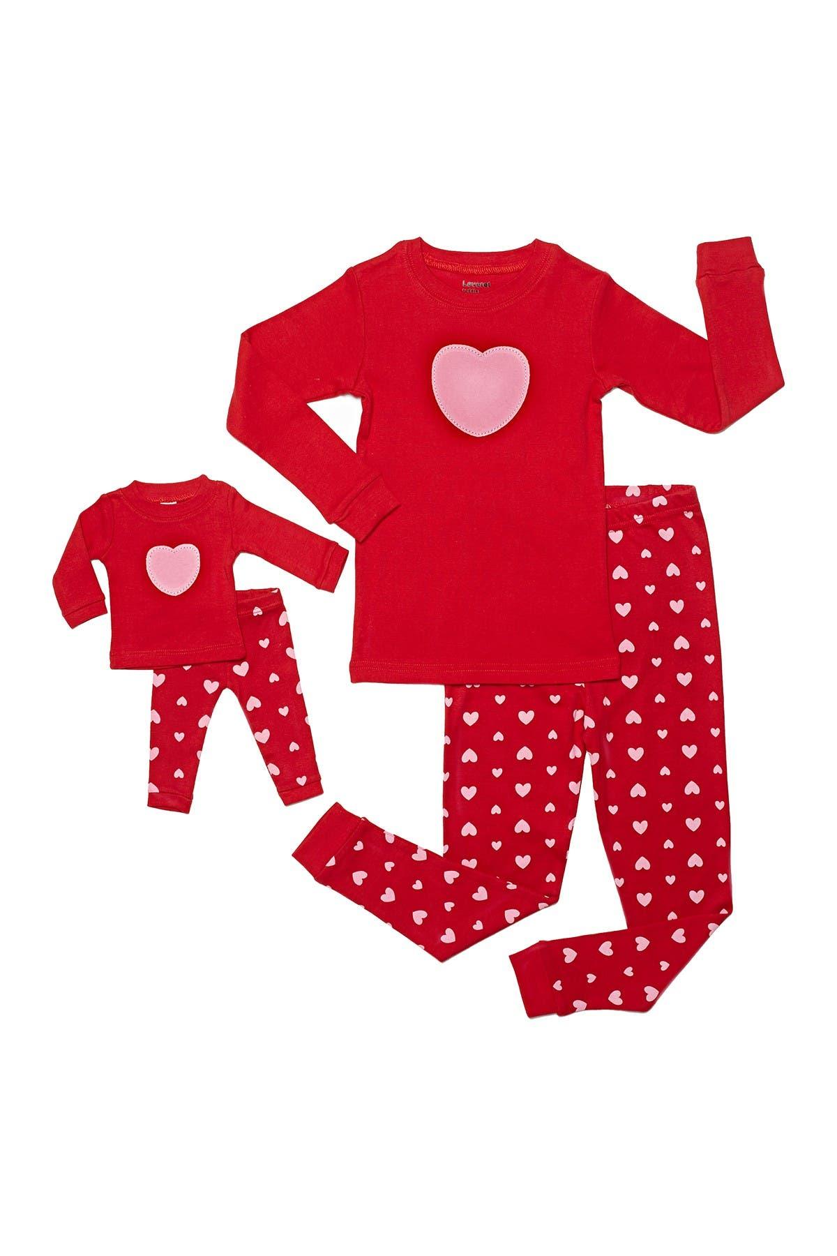 Image of Leveret Heart Pajama Set & Matching Doll Set