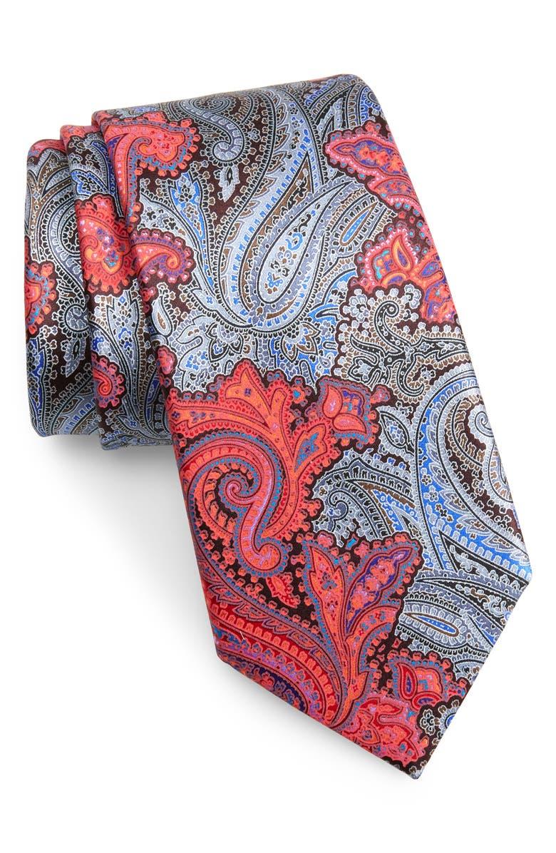 ERMENEGILDO ZEGNA Quindici Paisley Silk Tie, Main, color, ORANGE