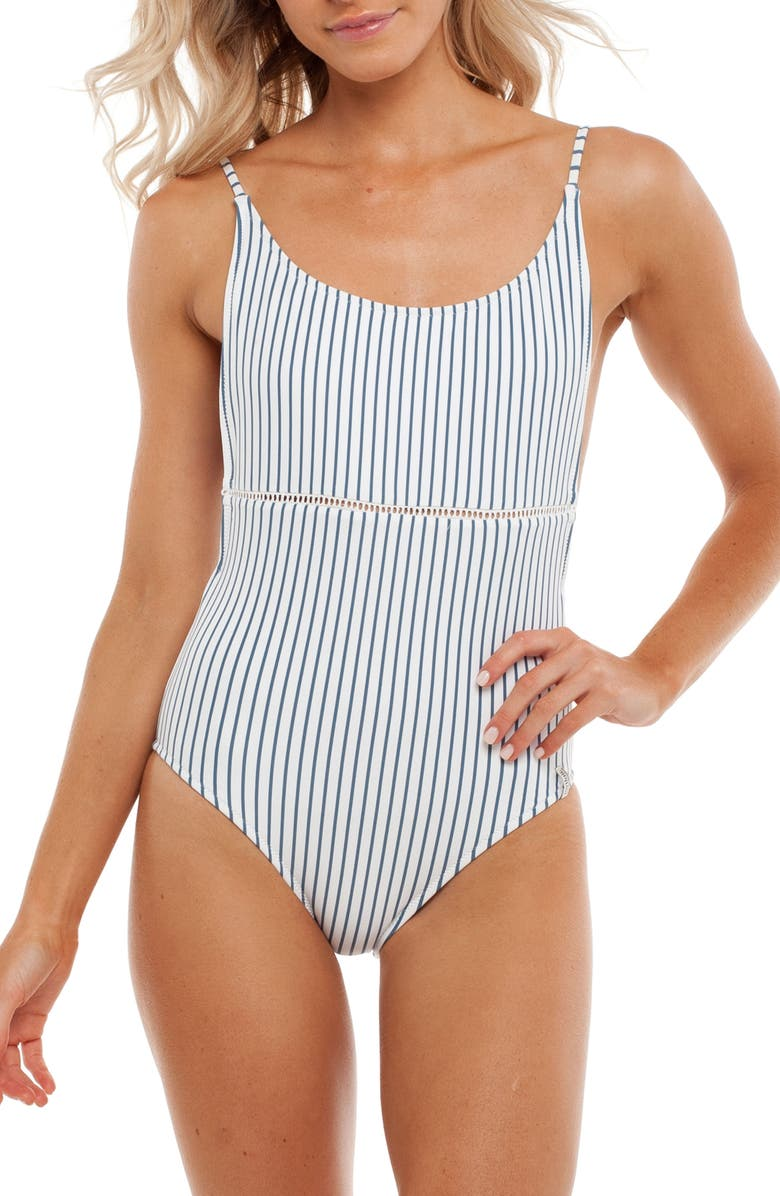 RHYTHM Summer Stripe One-Piece Swimsuit, Main, color, 420