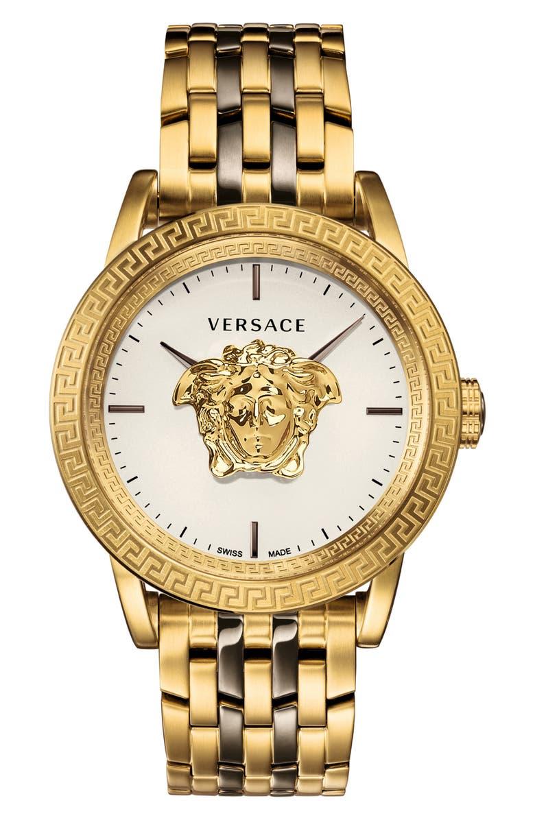 VERSACE Palazzo Empire Bracelet Watch, 43mm, Main, color, GOLD/ WHITE/ GUNMETAL