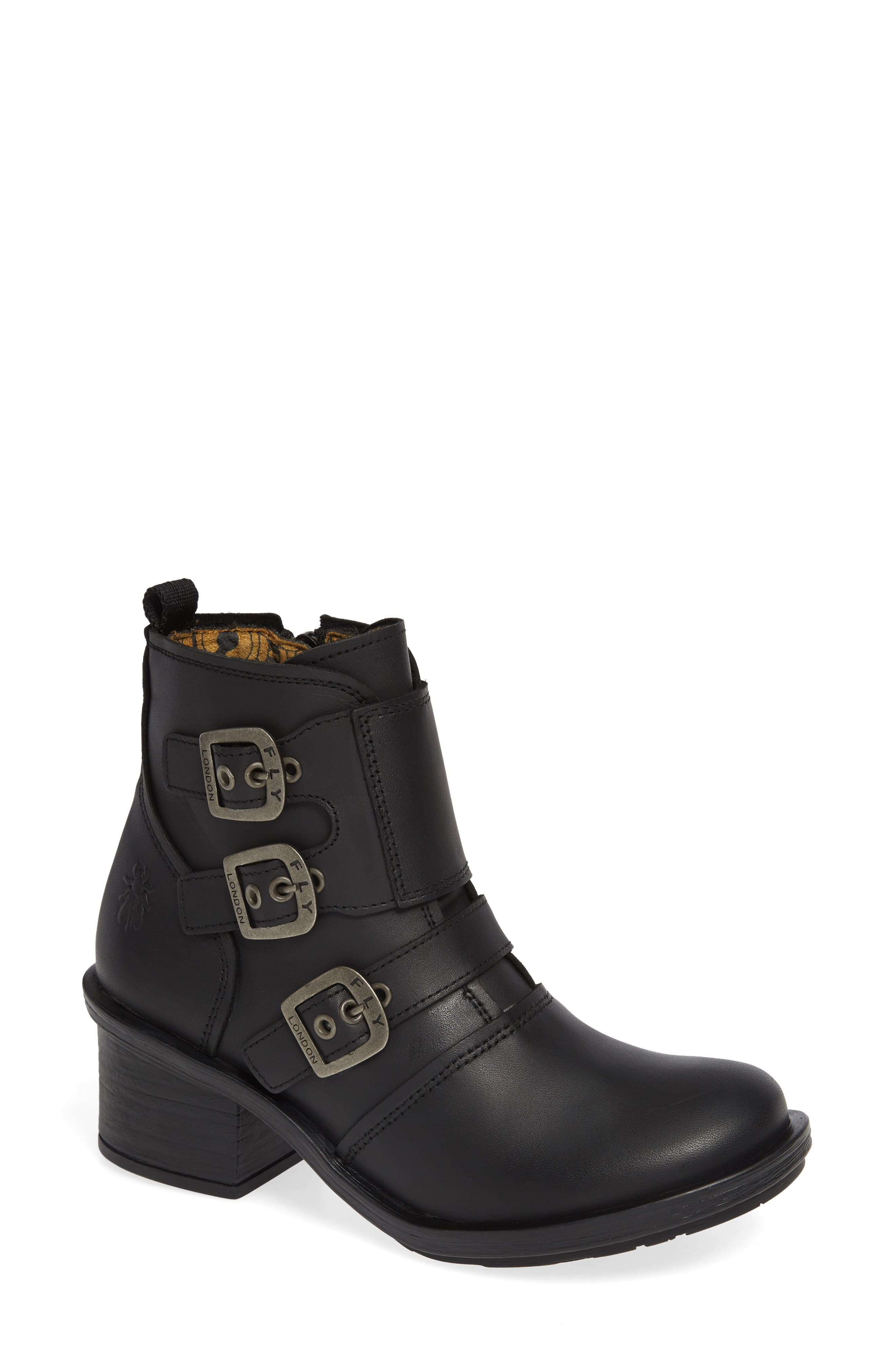 Fly London Crip Buckle Boot, Black