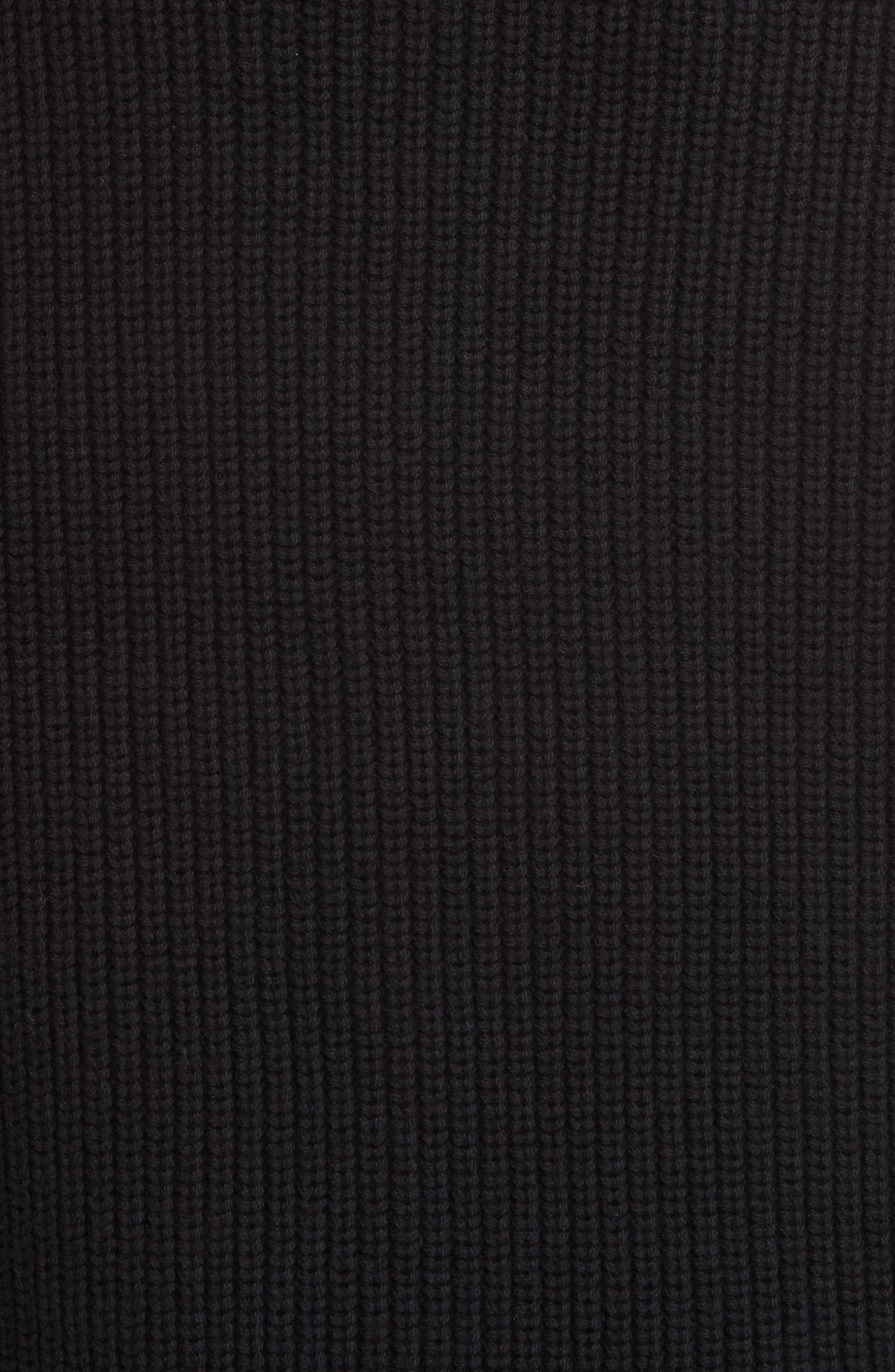 ,                             Stripe Sleeve Cotton Sweater,                             Alternate thumbnail 5, color,                             BLACK