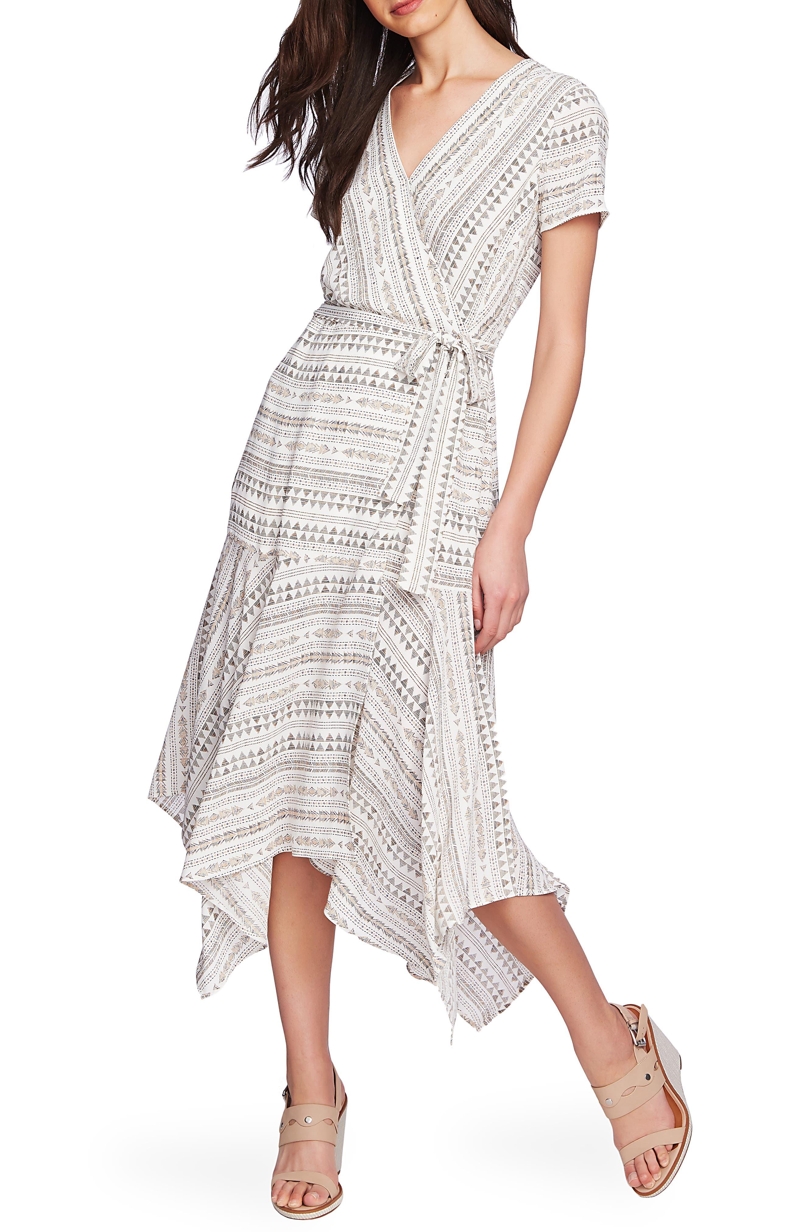 1.state Handkerchief Hem Wrap Dress, White