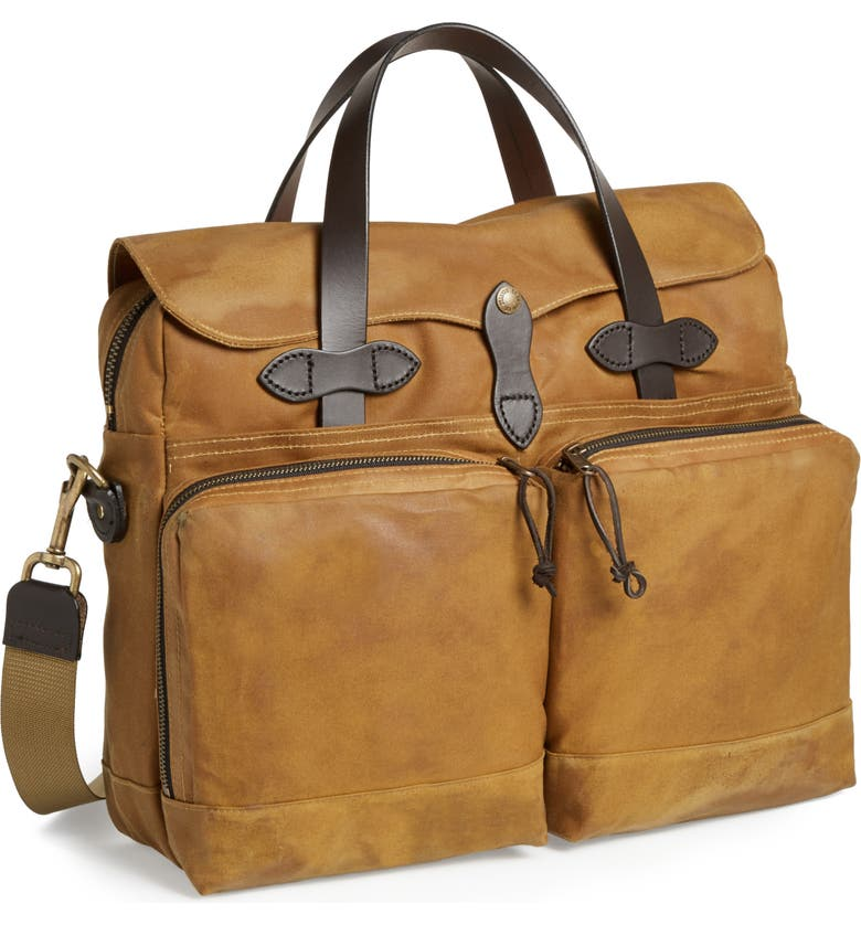 FILSON '24 Hour' Tin Cloth Briefcase, Main, color, TAN