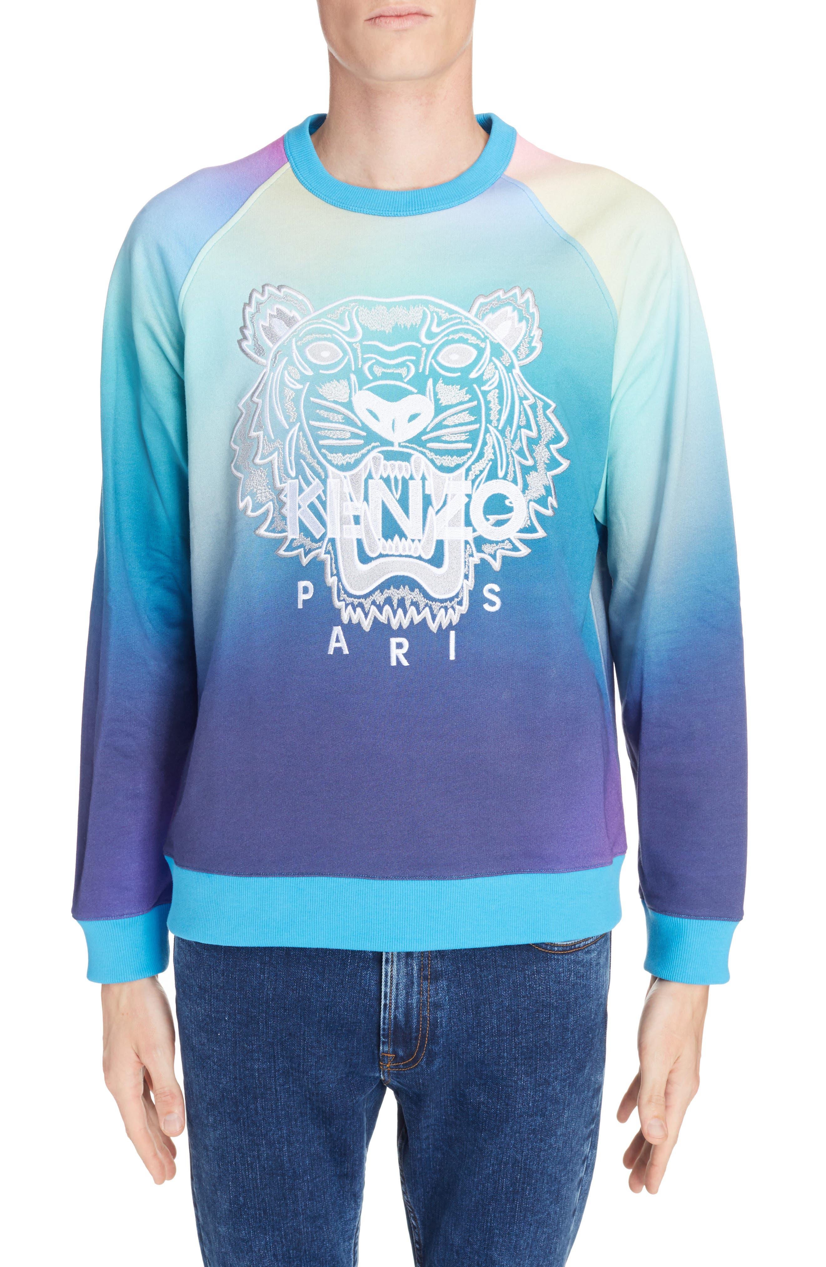 ,                             Rainbow Embroidered Tiger Sweatshirt,                             Main thumbnail 1, color,                             CYAN BLUE