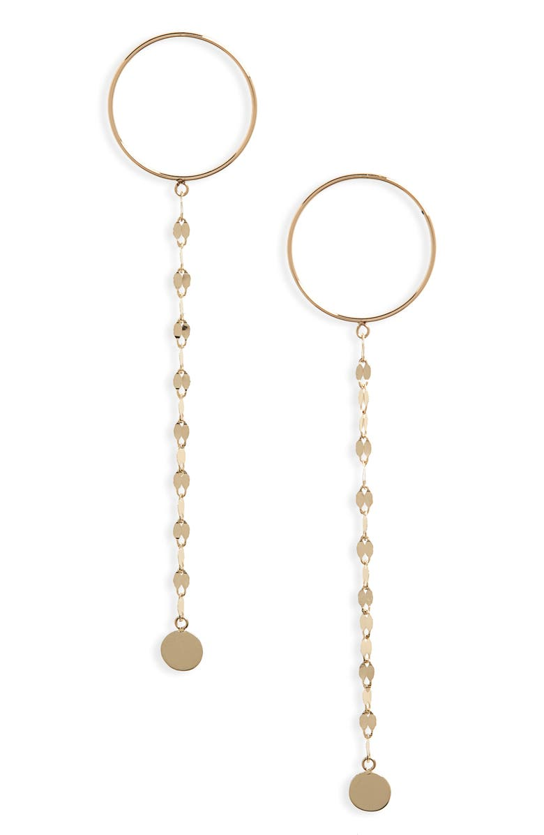 LANA JEWELRY Circle Post Linear Chain Drop Earrings, Main, color, YELLOW GOLD