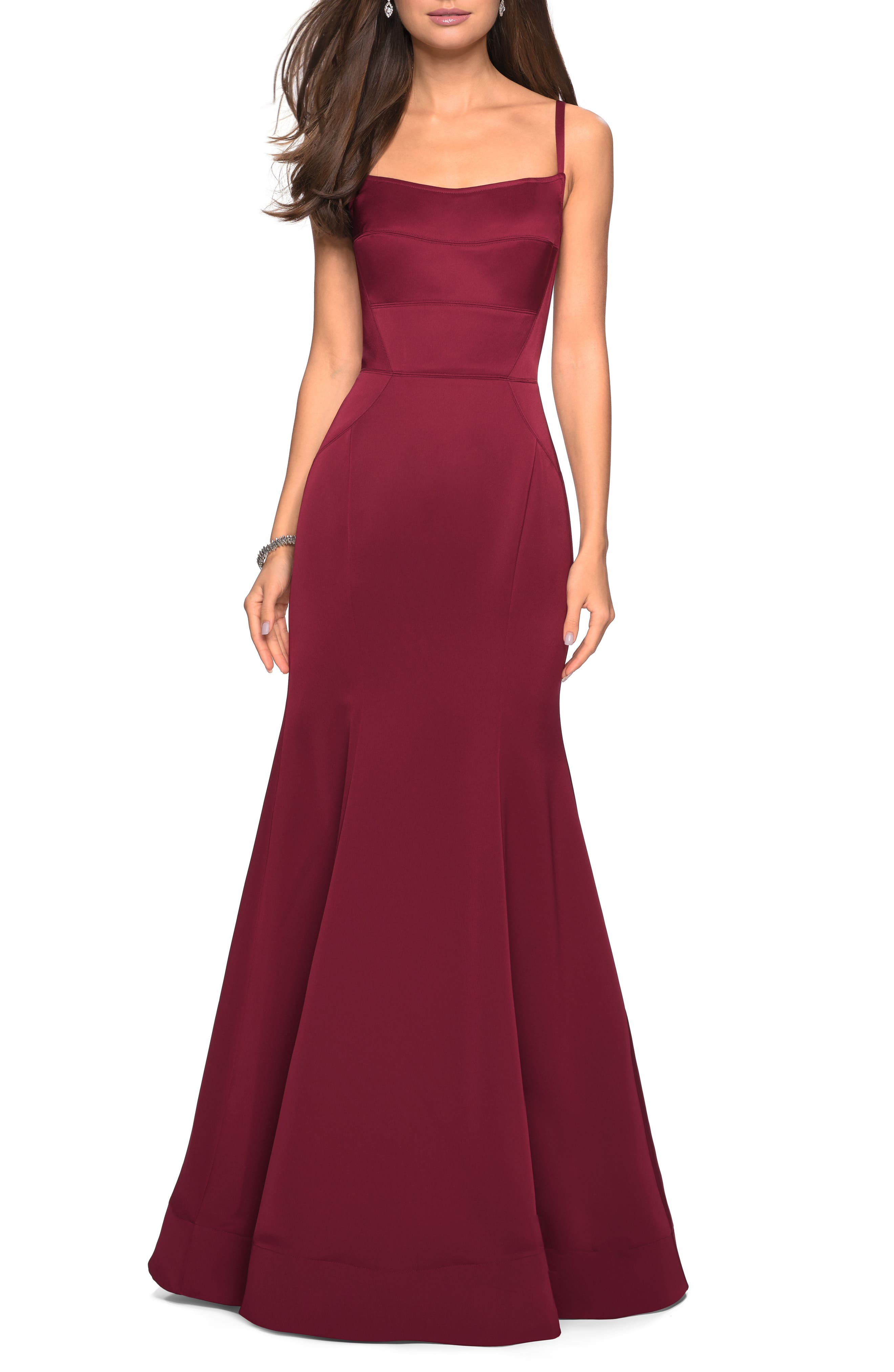 La Femme Structured Thick Jersey Trumpet Evening Dress