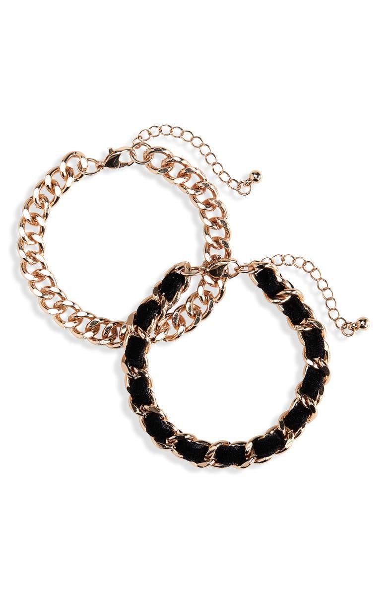 BP. Set of 2 Velvet & Chain Bracelets, Main, color, BLACK-GOLD