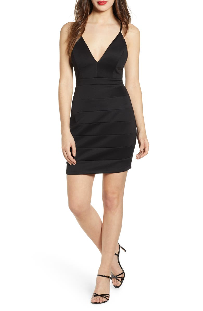 LOVE, NICKIE LEW Lace Detail Body-Con Minidress, Main, color, BLACK