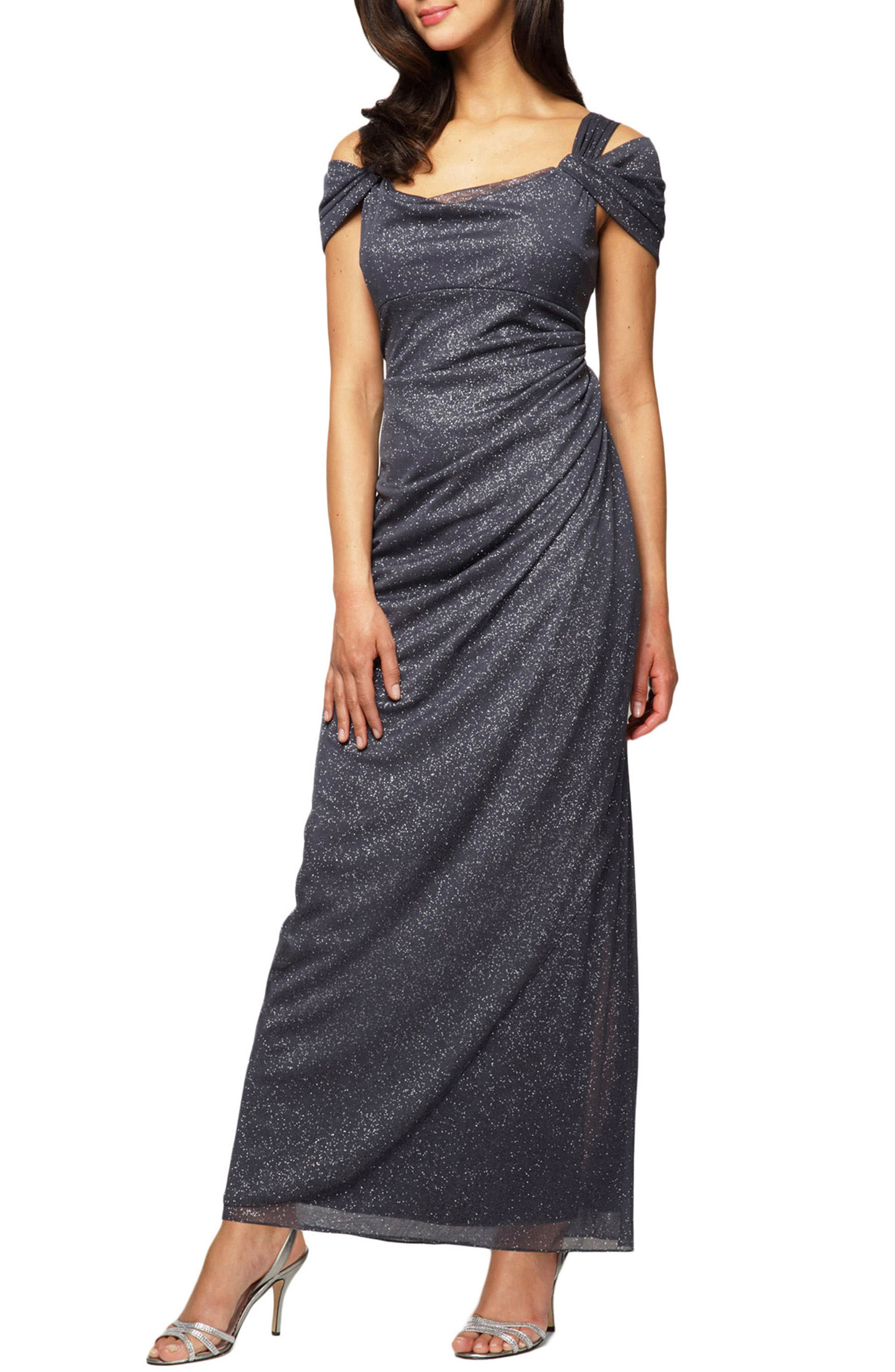 Petite Alex Evenings Cold Shoulder Chiffon Gown, Grey