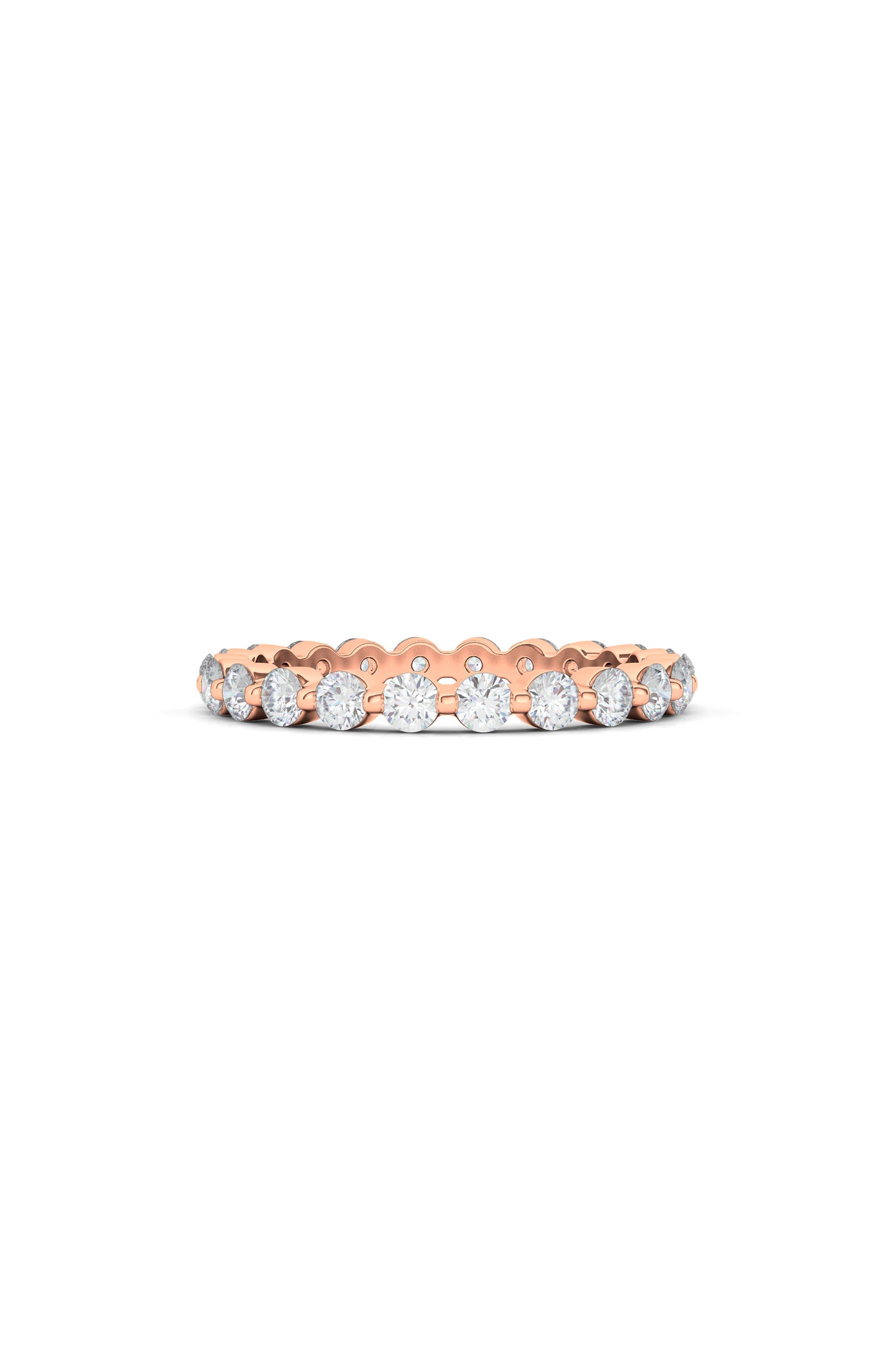 Lab Created Diamond Single Prong 18K Gold Eternity Band Ring