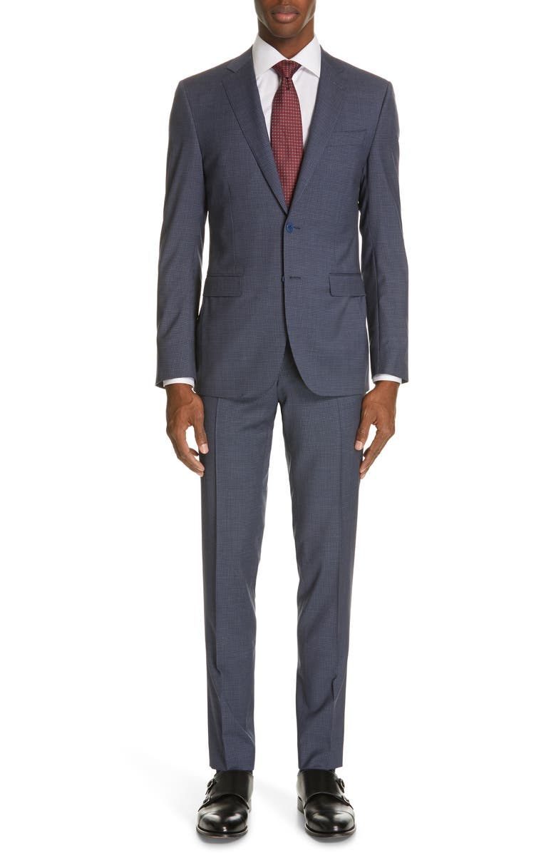 CANALI Milano Classic Fit Check Wool Suit, Main, color, 400