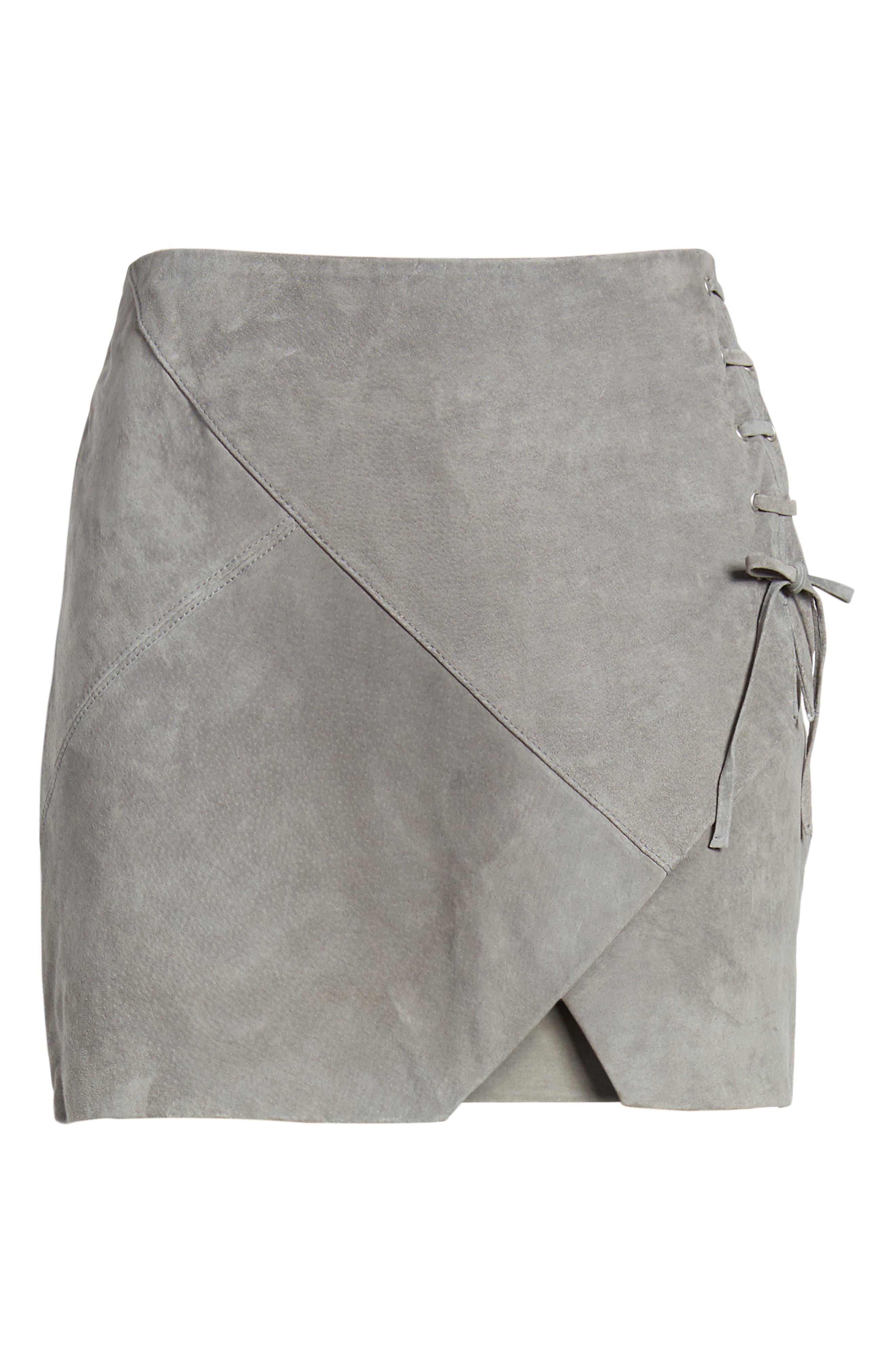 ,                             Lace-Up Suede Miniskirt,                             Alternate thumbnail 6, color,                             250