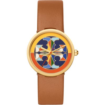 Tory Burch Reva Leather Strap Watch,