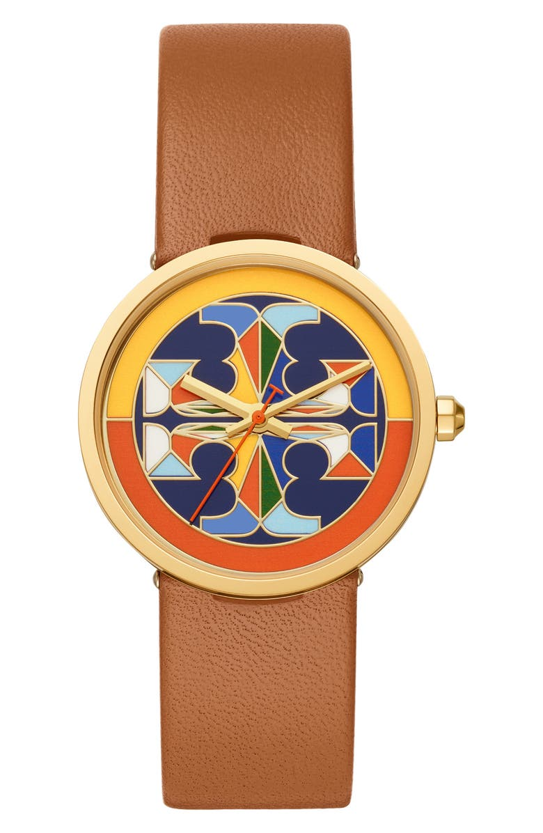 TORY BURCH Reva Leather Strap Watch, 36mm, Main, color, BROWN/ MULTI/ GOLD