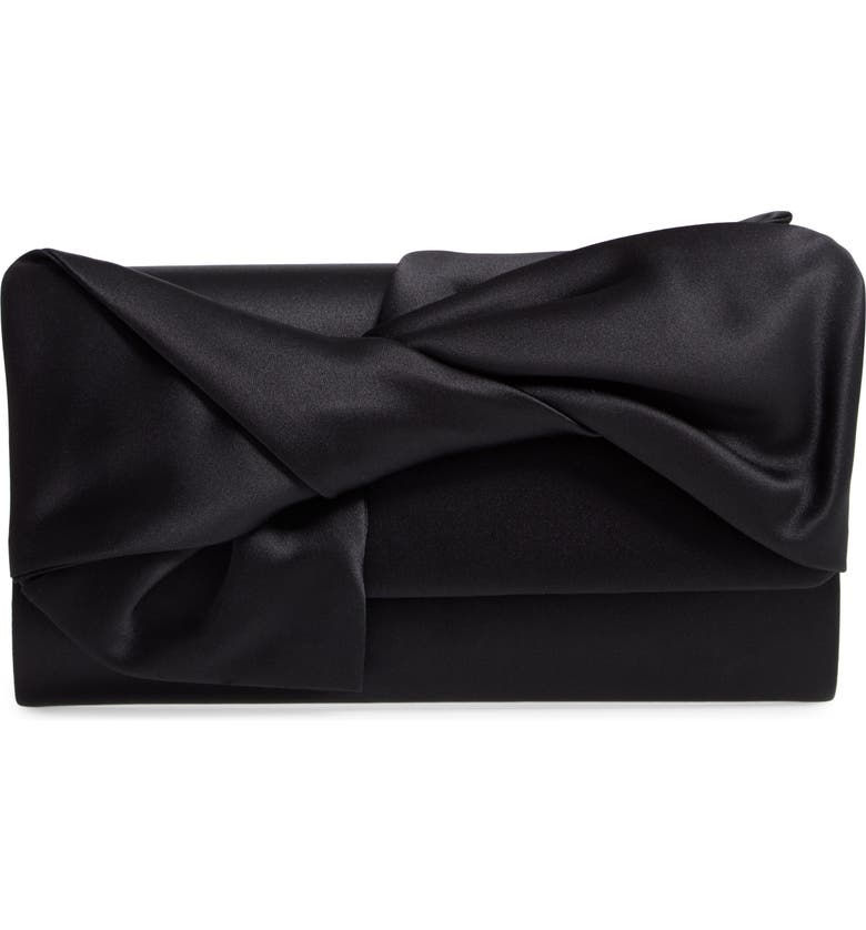 NORDSTROM Bow Flap Satin Clutch, Main, color, 001