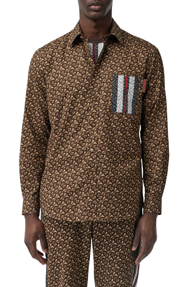 BURBERRY Chatham Monogram Stripe Print Button-Up Shirt, Main, color, BRIDLE BROWN PATTERN
