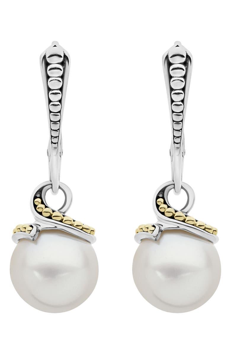 LAGOS Luna Pearl Drop Earrings, Main, color, SILVER